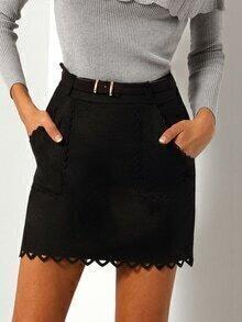 falda bolsillos hueco cinturón