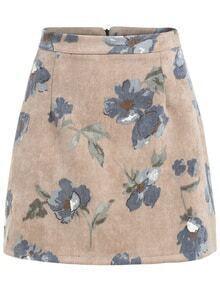 Florals Zipper A-Line Skirt