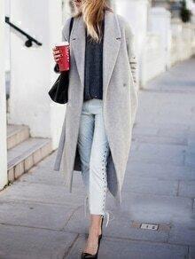 Grey Long Oversized Boyfriend Coat