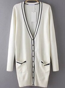 Striped Pockets Buttons Long White Cardigan