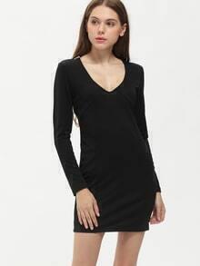 Black Long Sleeve Sequined Dress