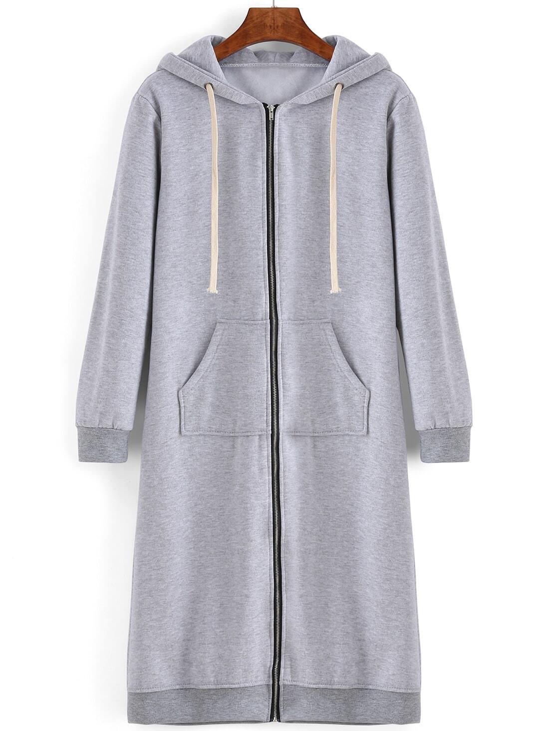 sweat shirt robe avec capuche et poches zipp e gris french romwe. Black Bedroom Furniture Sets. Home Design Ideas