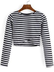 Round Neck Striped Cropped Tshirt