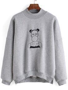 Grey Ugly Girl Embroidered Sweatshirt