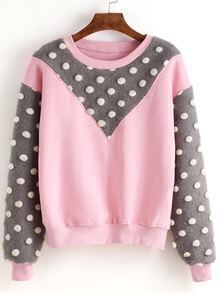 Pink Round Neck Polka Dot Splicing Sweatshirt