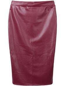Burgundy PU Leather Pencil Skirt