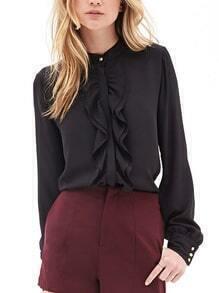 Women Black Ruffle Front Shirt