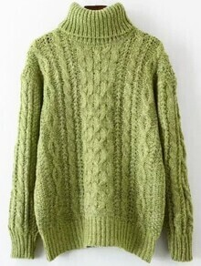 Turtleneck Cable Knit Loose Green Sweater