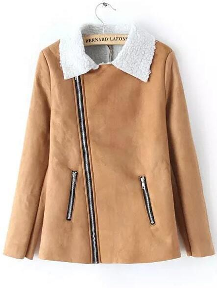 Manteau avec collet zipp su d kaki french romwe for Acheter maison suede