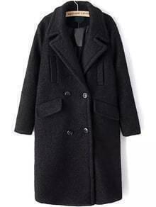 Lapel Double Breasted Pockets Long Black Coat