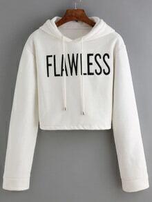 Hooded Drawstring Letter Print Crop Sweatshirt
