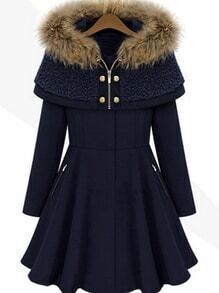 Long Sleeve Flare Navy Coat With Cape Hooded