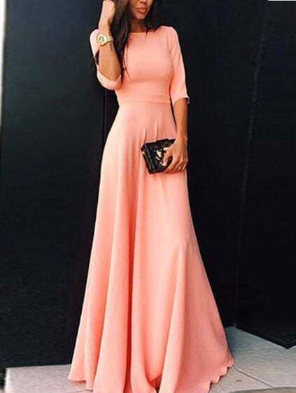 Elbow Sleeve Maxi Pink Dress