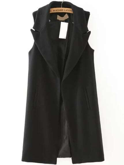 Women Lapel Long Vest With Pockets