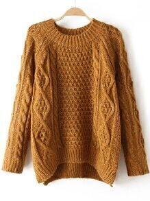 High Low Cable Knit Khaki Sweater