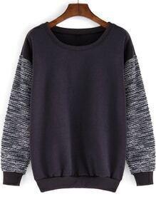 Round Neck Contrast Sleeve Loose Grey Sweatshirt
