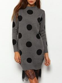 Polka Dot Lace Sweater Dress