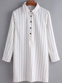 Vertical Stripe Buttons Long Blouse