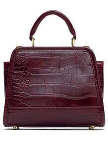 Wine Red Crocodile PU Shoulder Bag