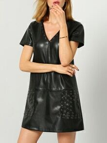 Black Short Sleeve PU Leather Dress
