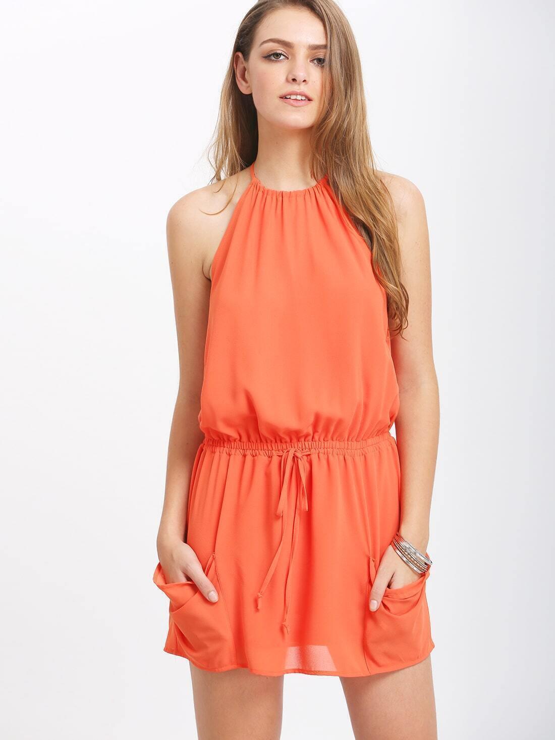 Orange Auburn Halter Lace Up Backless Blouson DressFor ...