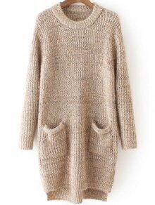 Dip Hem Khaki Sweater Dress With Pockets