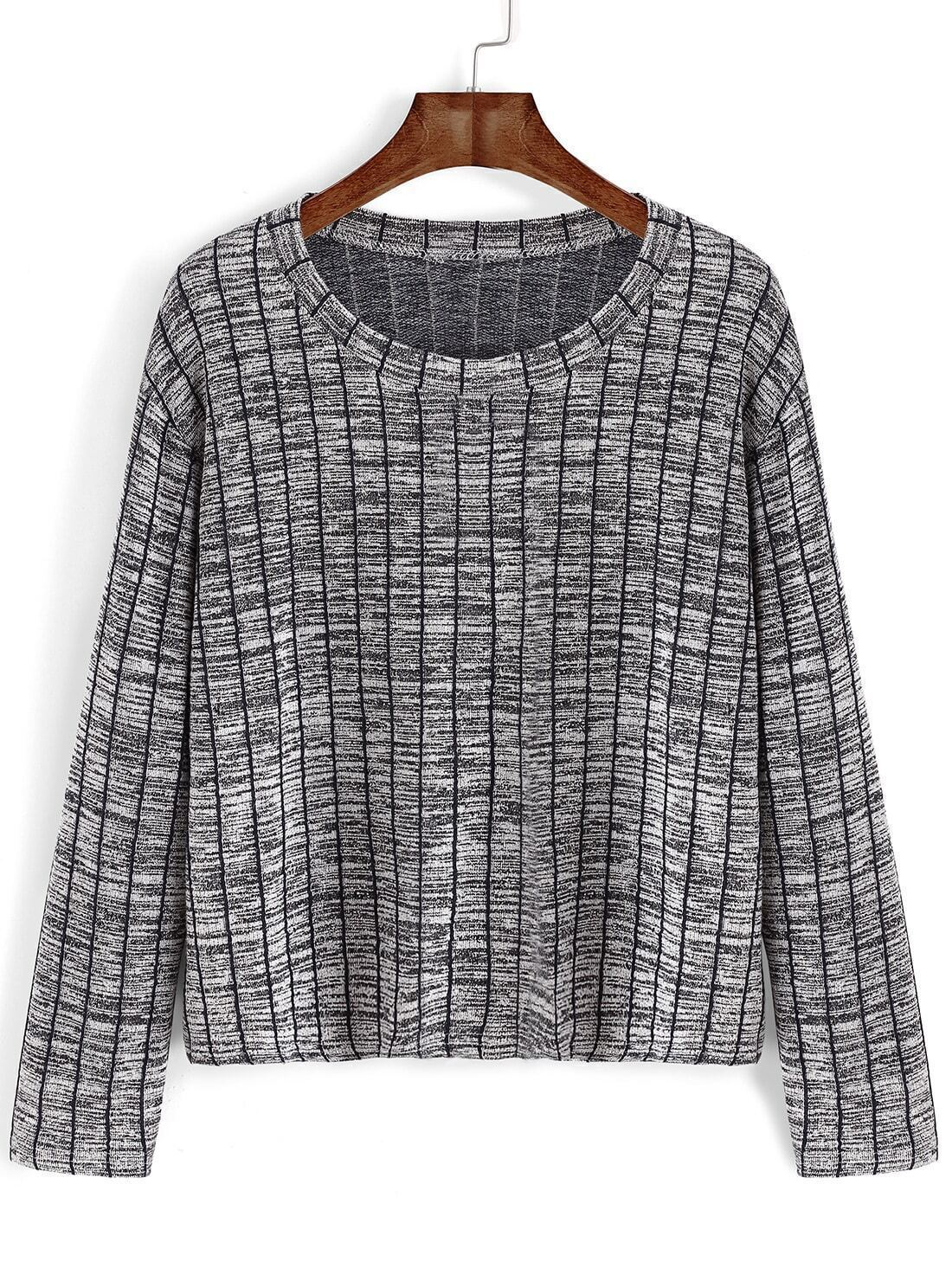 Women Vertical Striped Grey Sweater