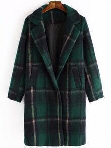 Women Lapel Plaid Long Coat