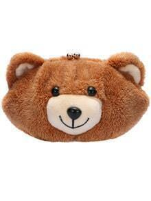 Brown Kiss Lock Bear Chain Bag