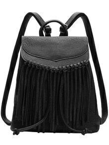 Black Tassel PU Backpacks