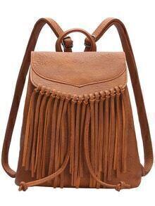 Brown Tassel PU Backpacks