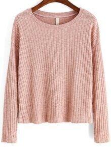 Women Long Sleeve Pink Sweater