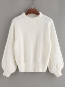 Lantern Sleeve Mohair Loose White Sweater