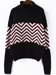 High Neck Striped Black Sweater