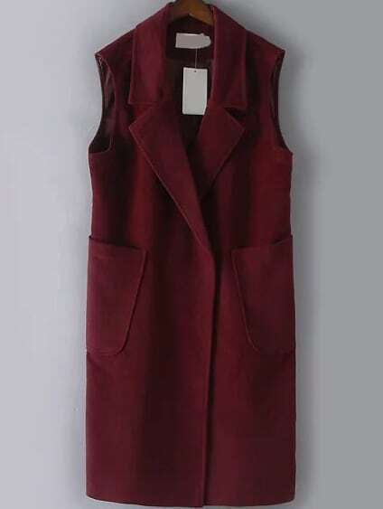 Lapel Split Back Burgundy Vest With Pockets