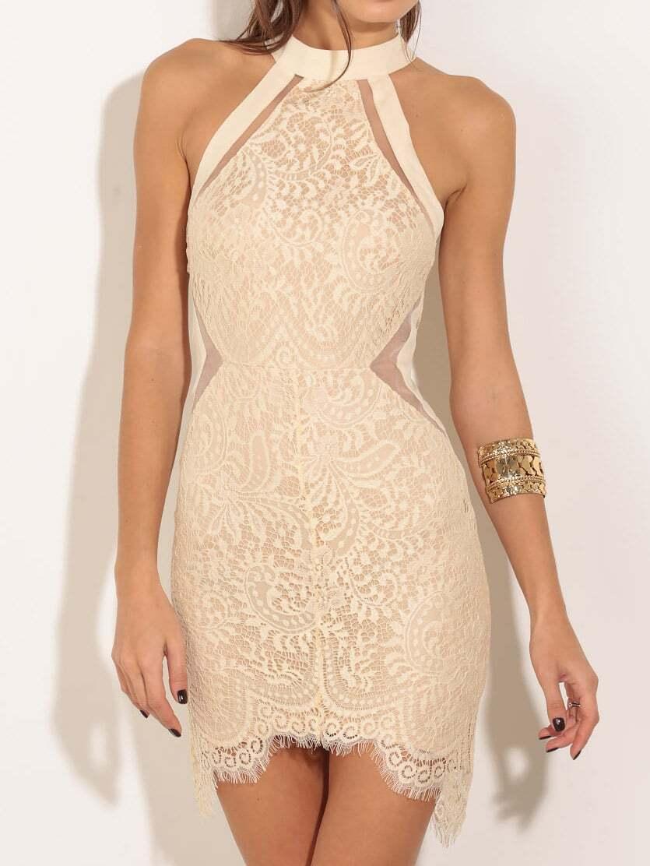 Halter Lace Bodycon White DressFor Women-romwe