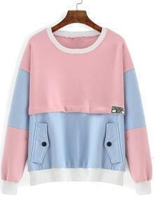 Pink Blue Loose Sweatshirt With Pockets
