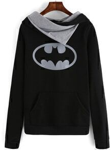 Hooded Bat Print Black Sweatshirt With Pockets