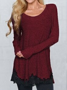 Long Sleeve Contrast Lace Sweater