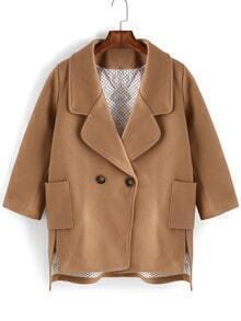 Dip Hem Lapel Slit Khaki Coat With Pockets