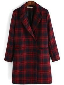 Lapel Plaid Covered Button Long Coat