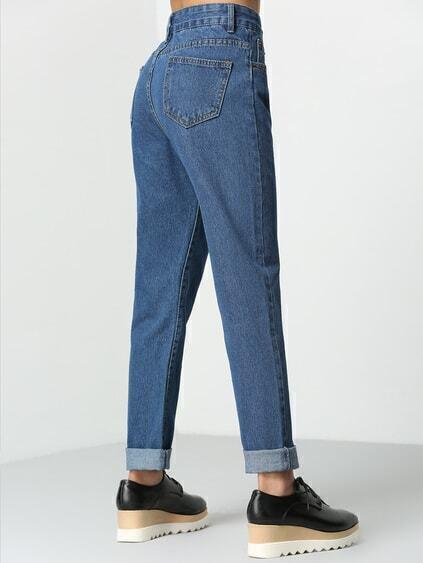 High Waist Denim Blue Pant