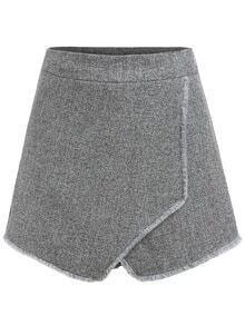 Women Fringe Wrap Grey Shorts