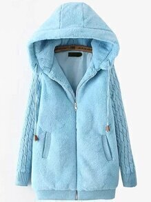 Hooded Drawstring Cartoon Embroidered Zipper Blue Coat
