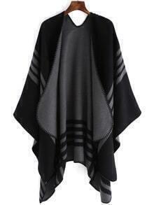 Striped Asymmetrical Black Sweater Poncho