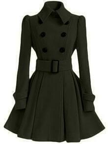 Lapel Double Breasted Frock Dark Green Coat