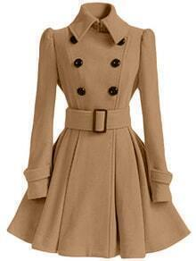 Lapel Double Breasted Frock Khaki Coat