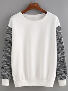 Round Neck Contrast Sleeve Loose White Sweatshirt