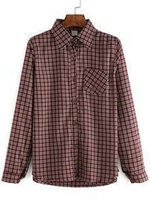 Lapel Plaid Buttons Maroon Blouse With Pocket
