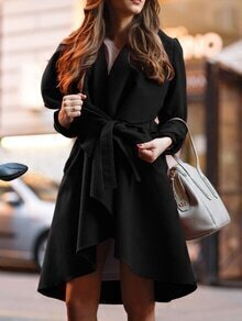 Shawl Collar Wrap Long Coat With Belt
